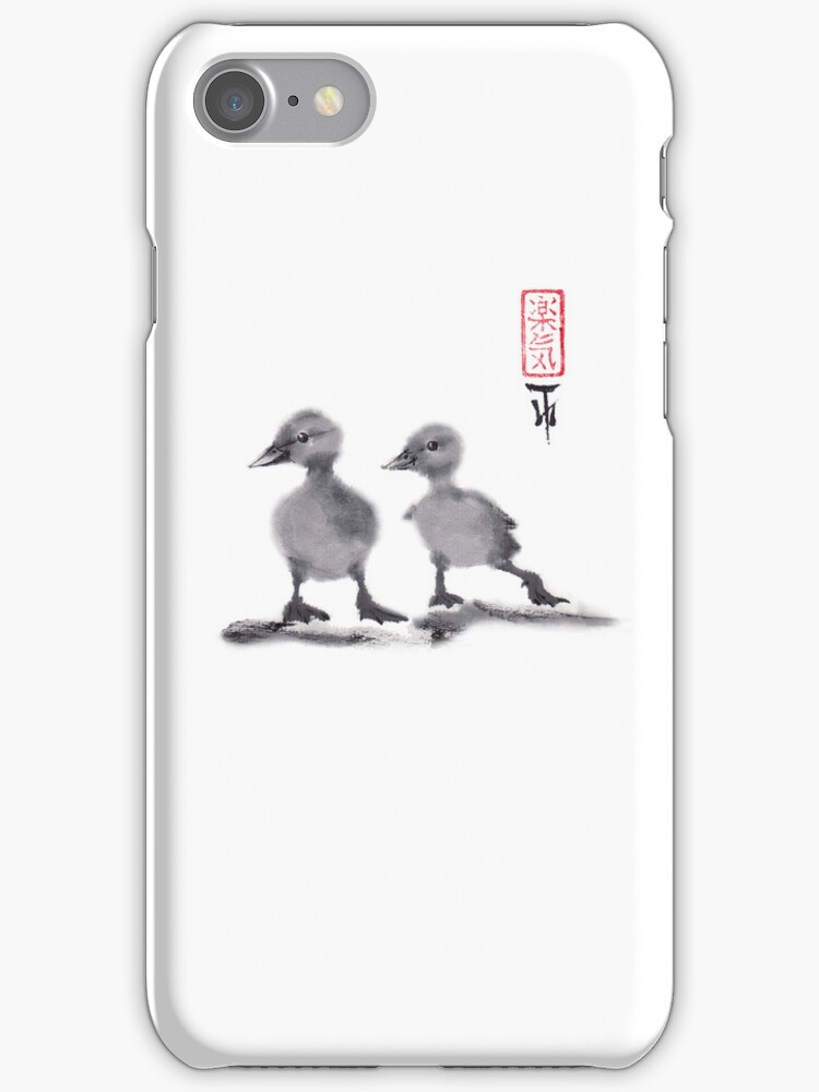 """print of original painting Japanese sumi-e """"Two duckling friends"""" by irina0707"""