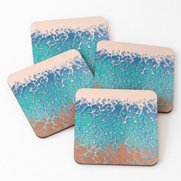 Caribbean Surf | Beach Acrylic Pour Painting Coasters (Set of 4)