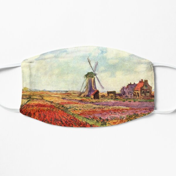 Tulip Fields with the Rijnsburg Windmill, 1886, by Claude Monet Flat Mask