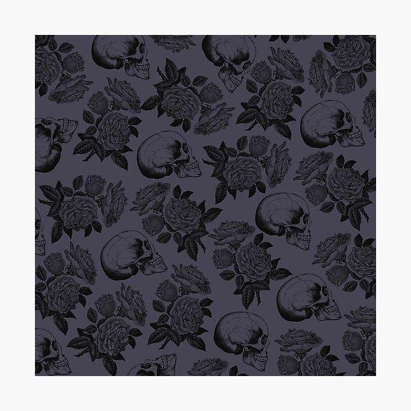 Skulls And Roses • Purple • Romantic Goth Photographic Print