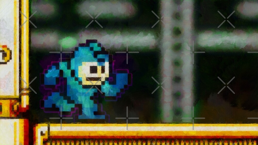 Mega Man retro painted pixel art by smurfted