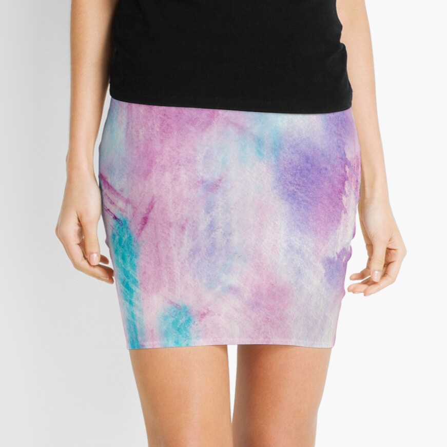 sporty watercolor texture pink and turquoise Mini Skirt