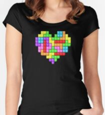 Tetris heart Women's Fitted Scoop T-Shirt