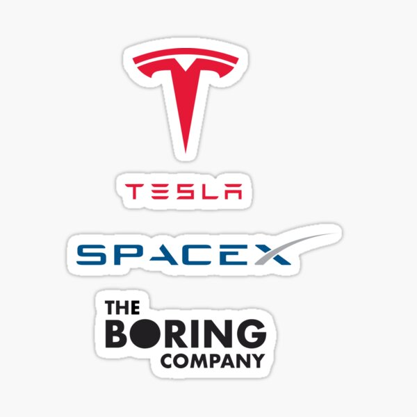 Pack d'autocollants Tesla Spacex The Boring Company Sticker
