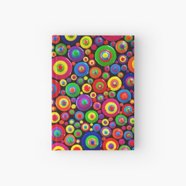 Abstract Dot Painting HAPPY by Dutch Artist Tessa Smits Hardcover Journal