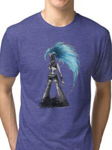 Rainbow Punk: Cybernetic Blue Tri-blend T-Shirt