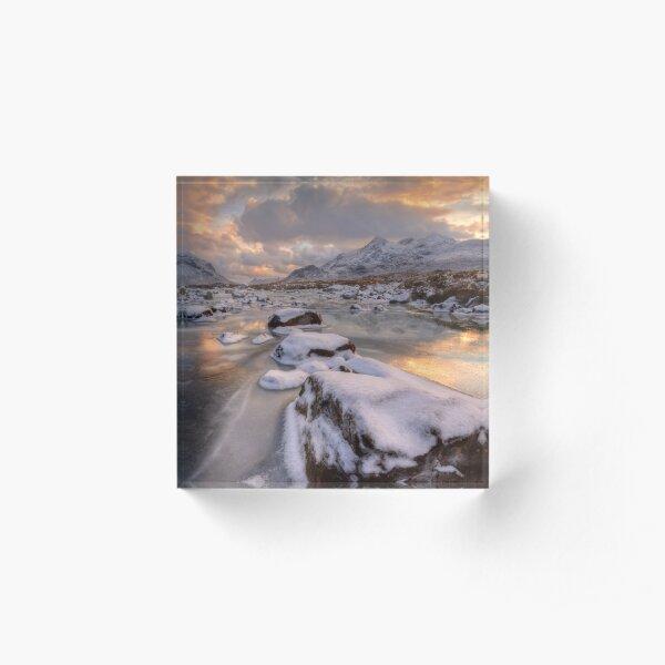Sligachan in Winter Isle of Skye Scotland. Acrylic Block