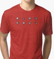 Pokemon Badges Original - Red and Blue Tri-blend T-Shirt