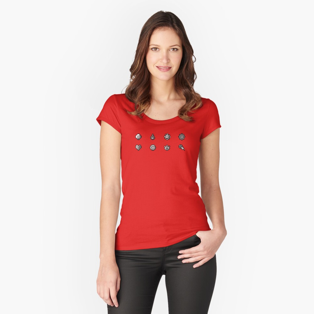 Pokemon Badges Original - Red and Blue Women's Fitted Scoop T-Shirt Front