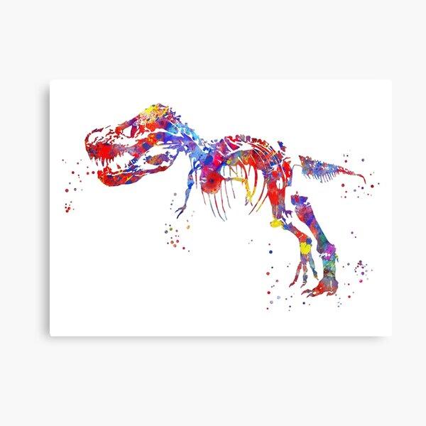 T Rex, Dinosaur, watercolor T Rex, T rex skeleton Canvas Print