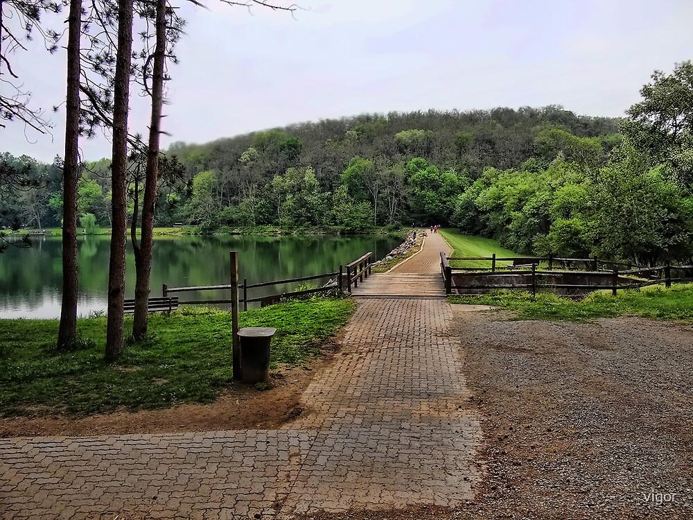 Walk across the dam by vigor
