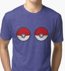 POKEBOOBS - Ladies Pokeball Shirt Tri-blend T-Shirt
