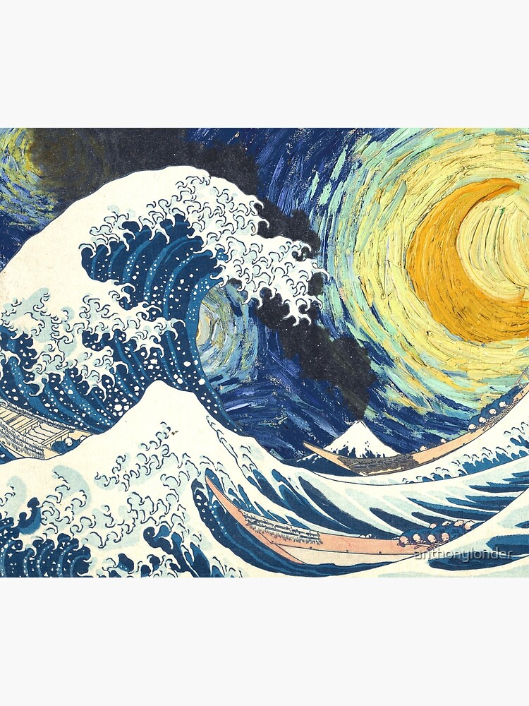 Starry Night Over the Great Wave Off Kanagawa-Hokusai and Vincent Van Gogh by anthonylonder