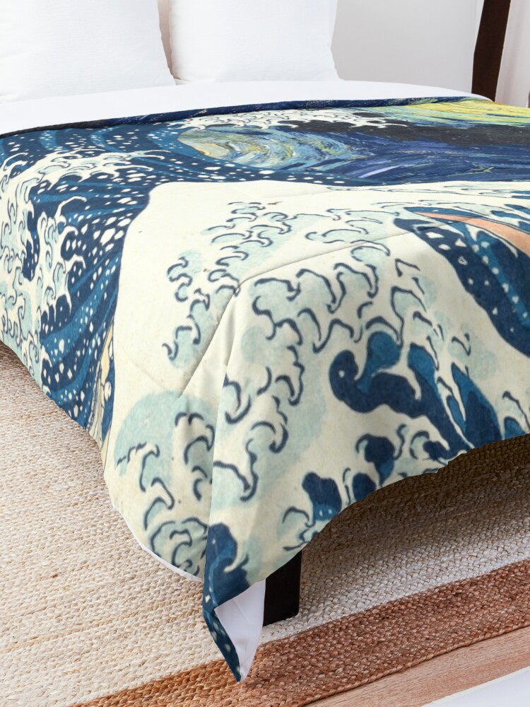 Alternate view of Starry Night Over the Great Wave Off Kanagawa-Hokusai and Vincent Van Gogh Comforter