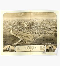 Panoramic Maps Bird's eye view of the city of Berlin Green Lake Co Wisconsin 1867 Poster