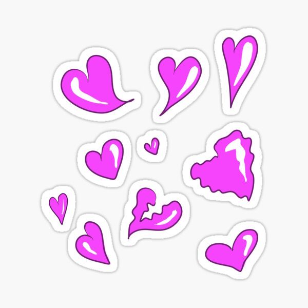 Hearts, love - set from 10 stickers for girls Sticker