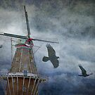 Dutch Windmill with Ravens by Randall Nyhof