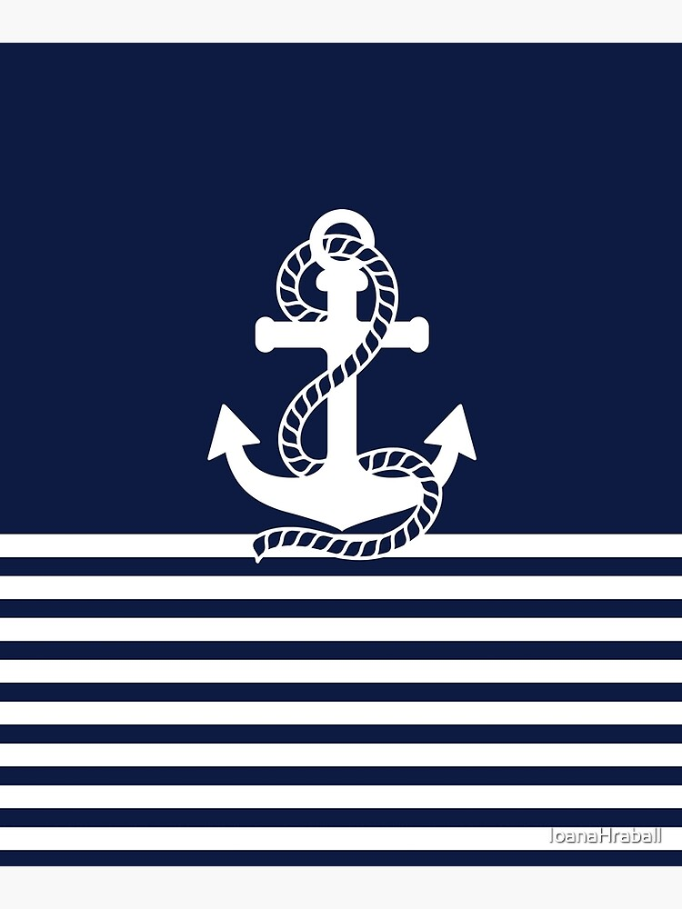 Nautical Navy Blue Stripes and White Anchor by IoanaHraball