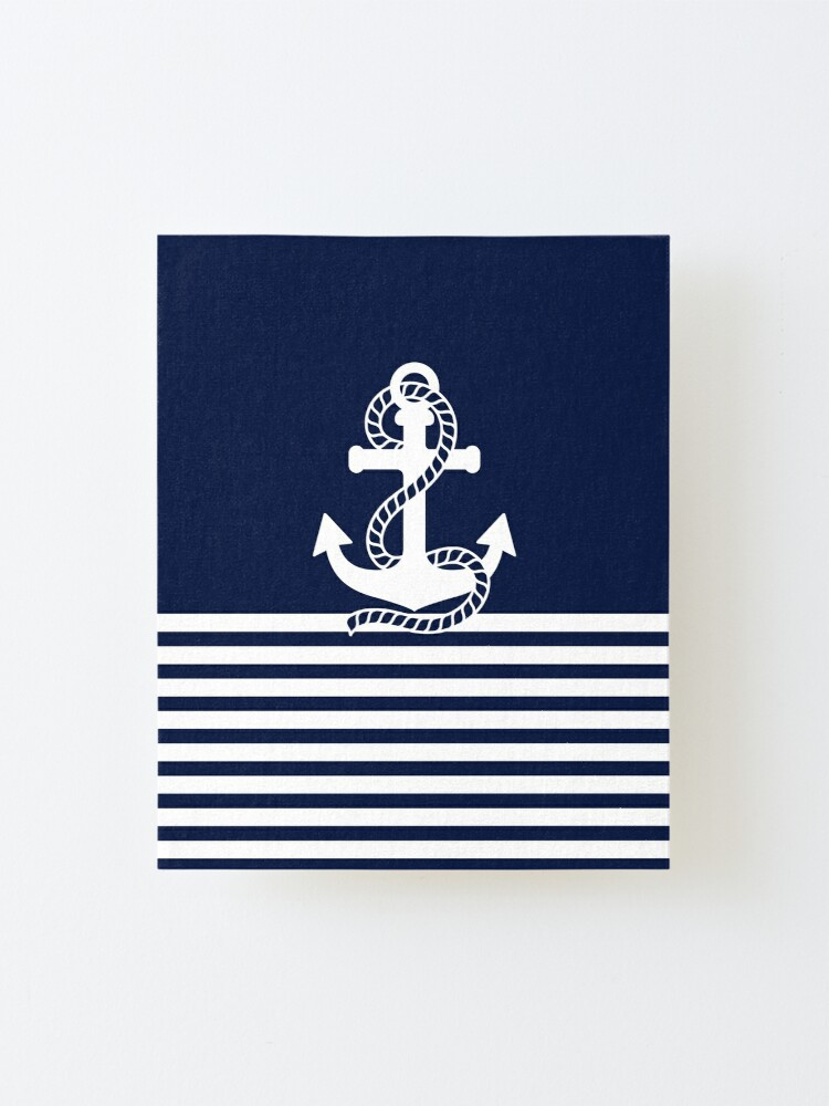 Alternate view of Nautical Navy Blue Stripes and White Anchor Mounted Print