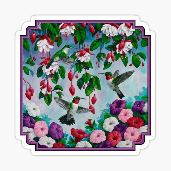 Hummingbirds and Fuchsias Purple Sticker