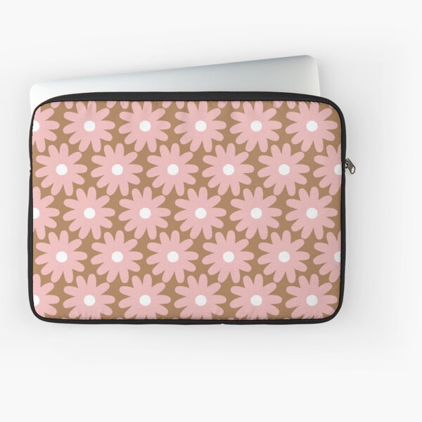 Smudgy Crayon Flowers Cheerful Pastel Floral Pattern Pink on Milk Chocolate Brown Laptop Sleeve