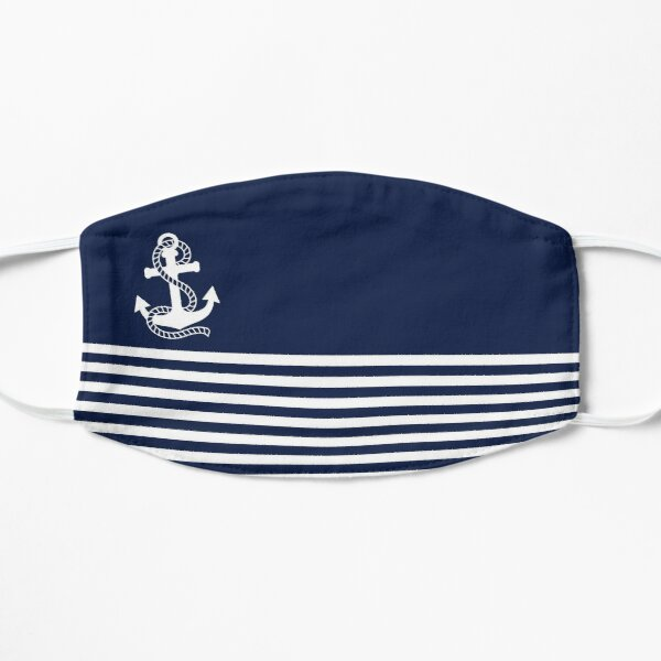 Nautical Navy Blue Stripes and White Anchor Flat Mask