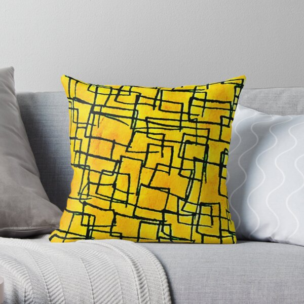 Yellow and black square design  Throw Pillow