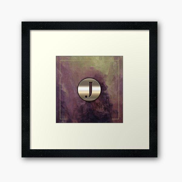 J Metal Monogram Purple Brush Strokes Framed Art Print