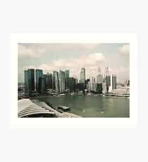 Singapore skyline as viewed from the Marina Bay Sands Hotel Art Print