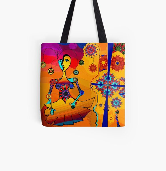 Girl With Kaleidoscope Eyes All Over Print Tote Bag