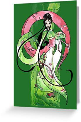 Geisha in Green with Koi and lotus Flowers by Barbora  Urbankova
