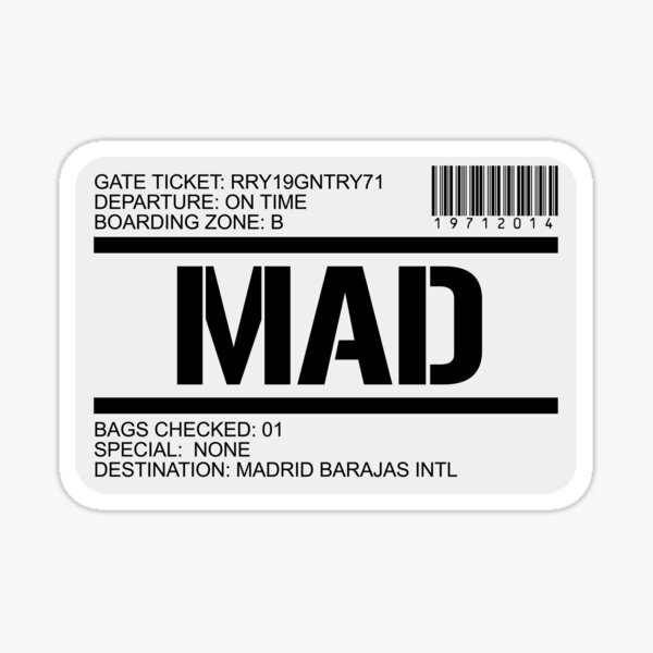 Madrid Spain airport destination stamp Sticker