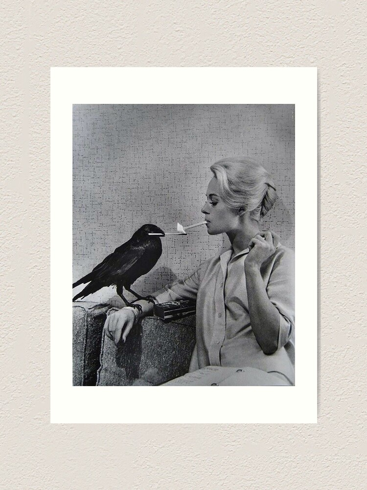 Alternate view of Tippi Hedren having her cigarette lit by a crow on the set of The Birds Art Print
