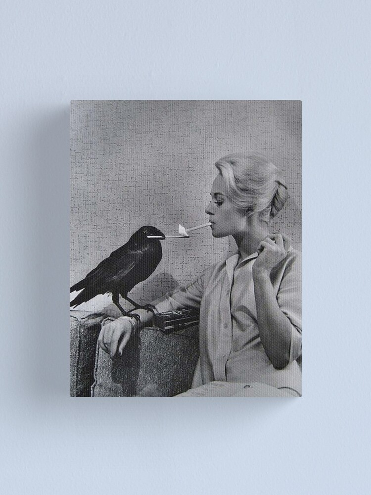 Alternate view of Tippi Hedren having her cigarette lit by a crow on the set of The Birds Canvas Print