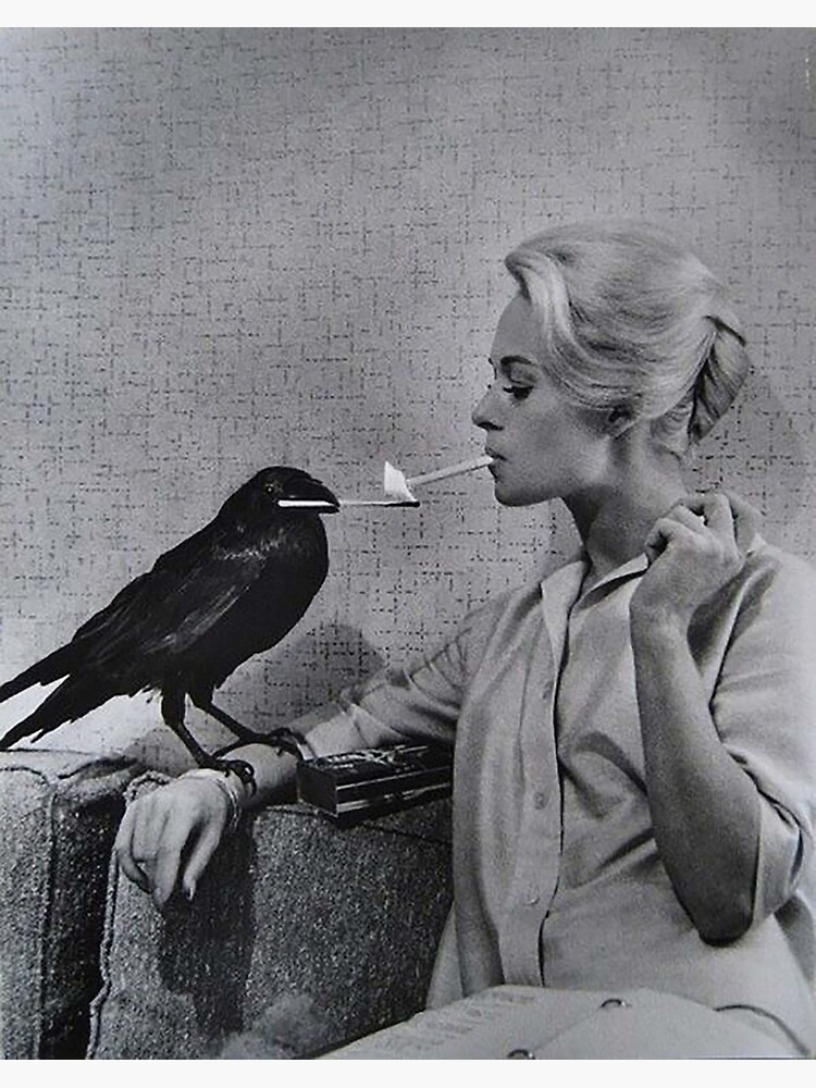 Tippi Hedren having her cigarette lit by a crow on the set of The Birds by atparker