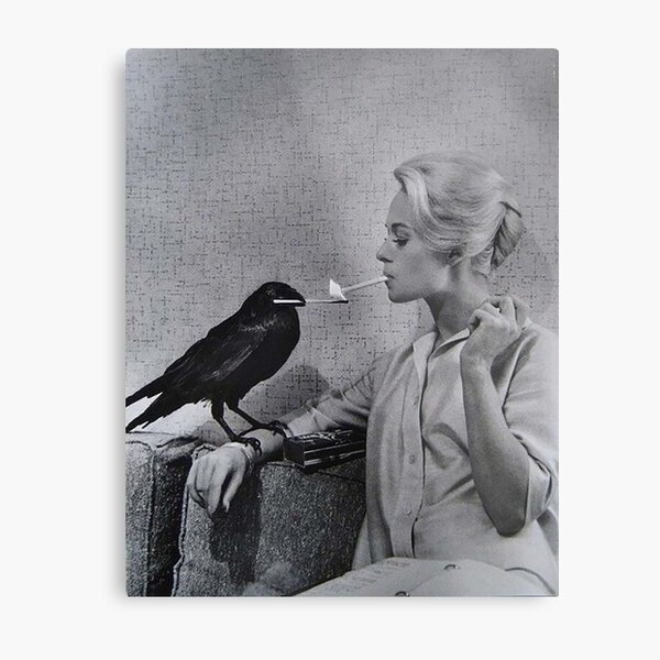 Tippi Hedren having her cigarette lit by a crow on the set of The Birds Metal Print