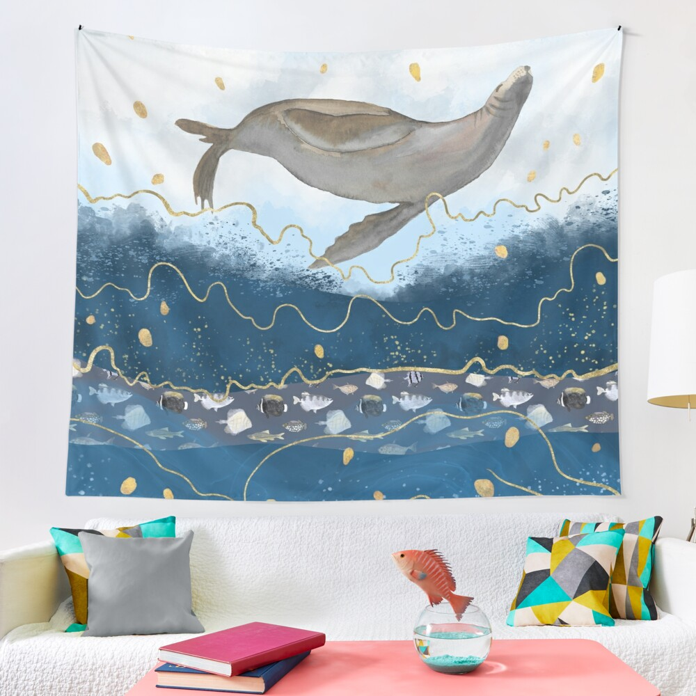 Flying Seal - Climate Change Surreal Awareness  Tapestry
