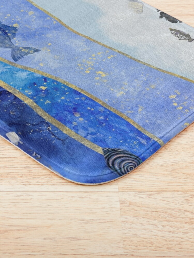 Alternate view of Fish in the Sky Surreal Dream Painting Bath Mat