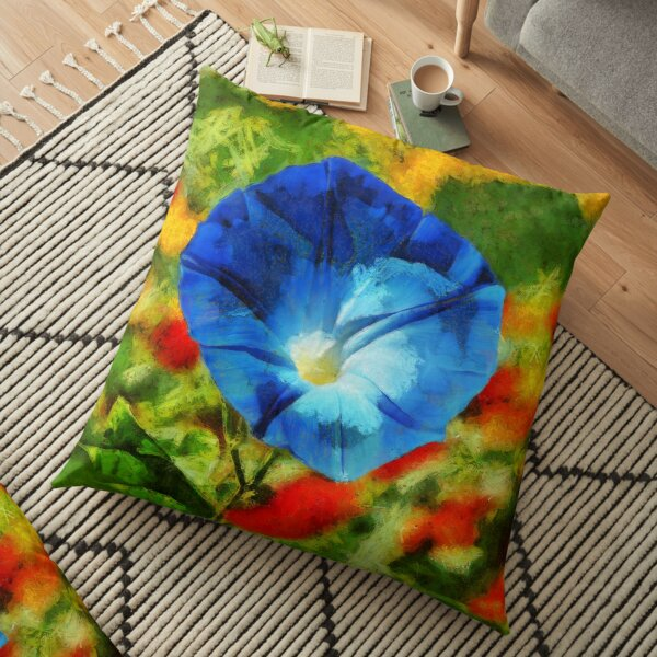 Heavenly Blue Morning Glory Flower to Brighten Your Mood Floor Pillow