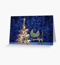 Kitten Sets Up Christmas Tree Greeting Card