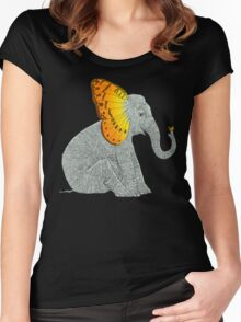 Elephant and Butterfly Women's Fitted Scoop T-Shirt