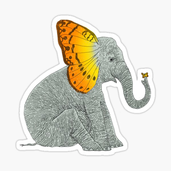 Elephant and Butterfly Sticker