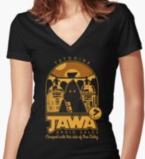 Jawa Droid Sales Women's Fitted V-Neck T-Shirt