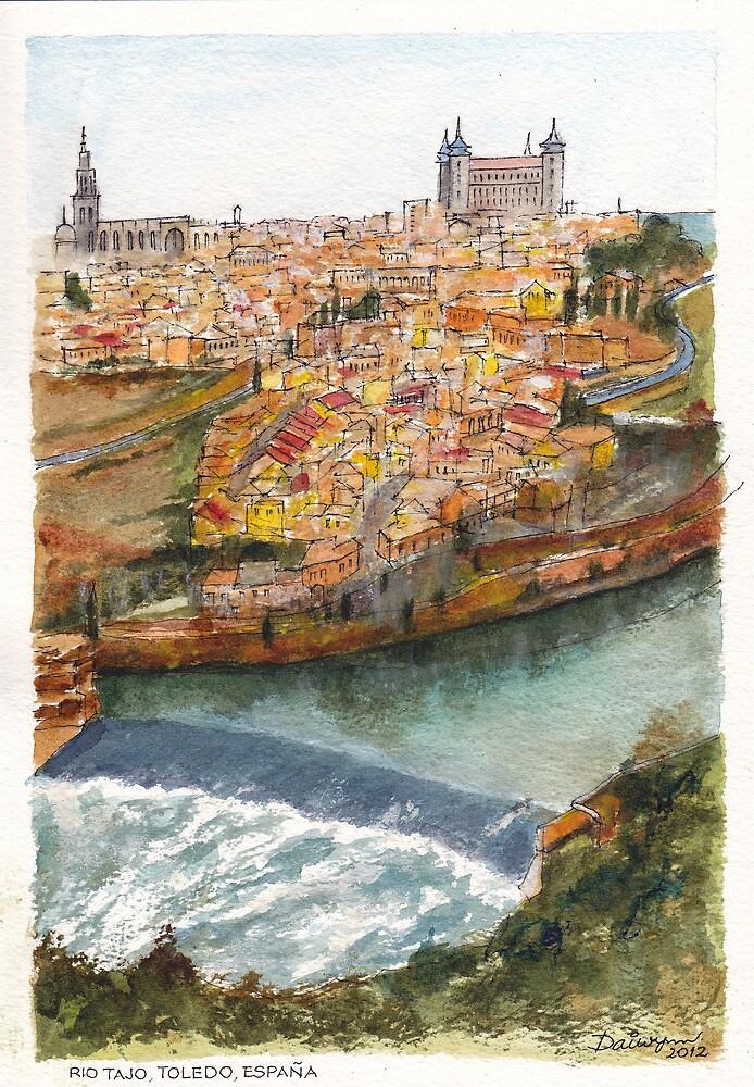 River Tagus Weir, Toledo by Dai Wynn