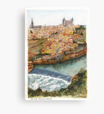 River Tagus Weir, Toledo Canvas Print