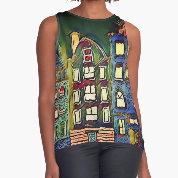 Tiny town night scene painting  Sleeveless Top