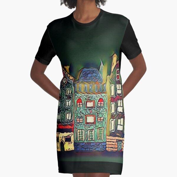 Tiny town night scene painting  Graphic T-Shirt Dress