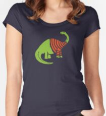 Brontosaurus in a Sweater  Women's Fitted Scoop T-Shirt