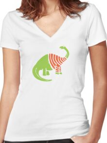 Brontosaurus in a Sweater  Women's Fitted V-Neck T-Shirt