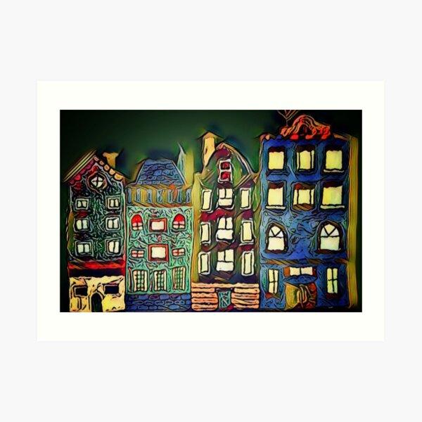 Tiny town night scene painting  Art Print